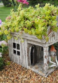 Wooden House Planter